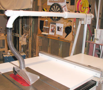 Table Saw Improvements: New Blade Guard And Overarm Dust Collection System.  GuruGene Designed, Engineered And Fabricated The Whole Overarm System For A  ...